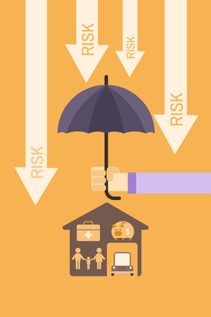 insurance cover concept of man holding umbrella to protect family, healthcare,saving,house and car Stock Illustratie