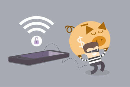 insecure: mobile phone crime concept of thief stealing money when mobile phone is on insecure network