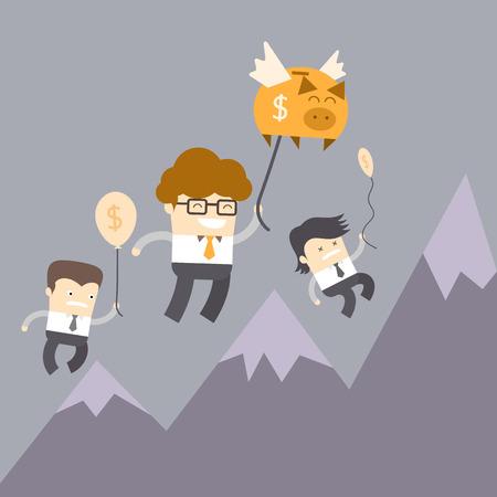 personal banking: concetto piano finanziario personale dell'uomo volando con il suo risparmio