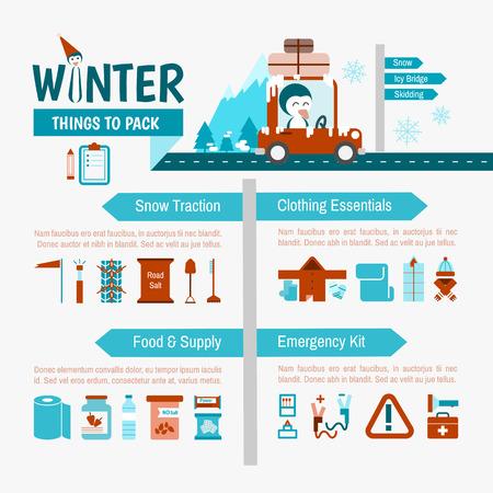 冬の運転安全旅行のためのリストのインフォ グラフィックをパッキング