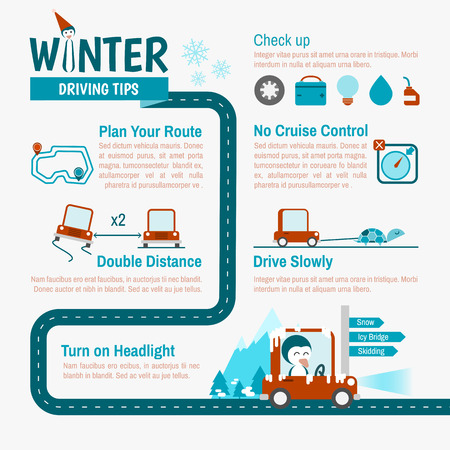Winter Driving tips infographics for safety trip Vector
