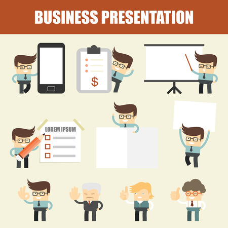 corporate background: set of business man presentation