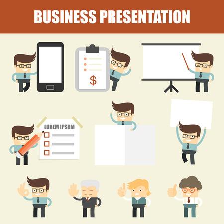 corporate office: set of business man presentation