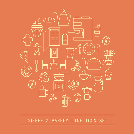 set of coffee and bakery line icon