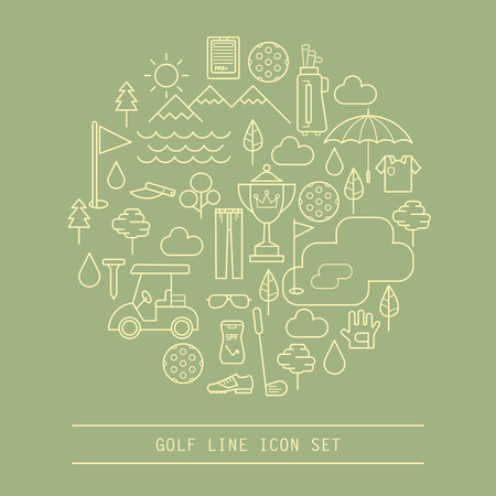 set of golf line icon Stock Vector - 37467647