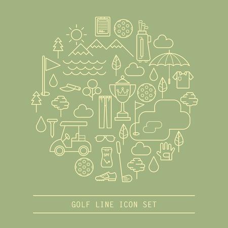 set of golf line icon Illustration