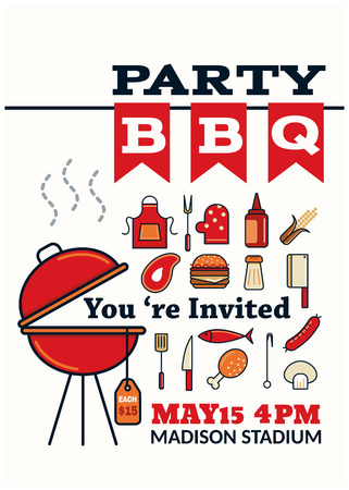 outdoor party: grilled bbq party icon style for invitation car or flyer or poster Illustration