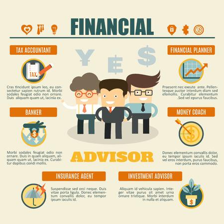 金融アドバイザーのインフォ グラフィック税務会計士、銀行家、投資顧問、お金の監督、保険代理店、ファイナンシャル ・ プランナー