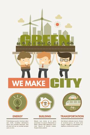 緑豊かな街の概念グリーン エネルギー建物と交通をつくる  イラスト・ベクター素材