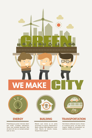 We make green city concept for green energy building and transportation Illustration