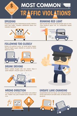交通: 交通違反のインフォ グラフィック  イラスト・ベクター素材