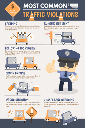 cars on the road: Traffic Violation Infographic Illustration