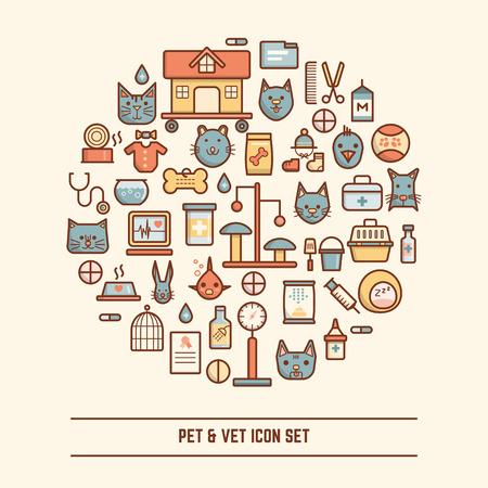 rabbit cage: pet and vet icon set