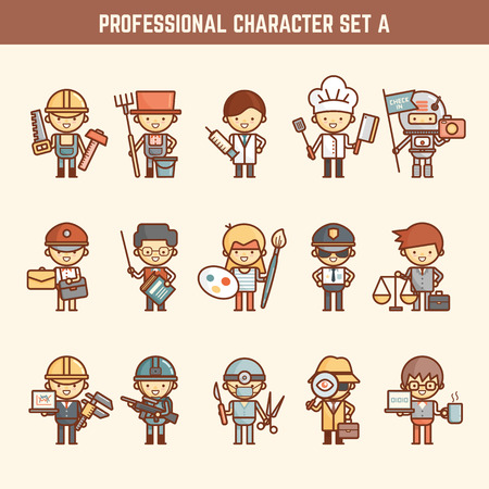 outline cartoon characters illustration of profession