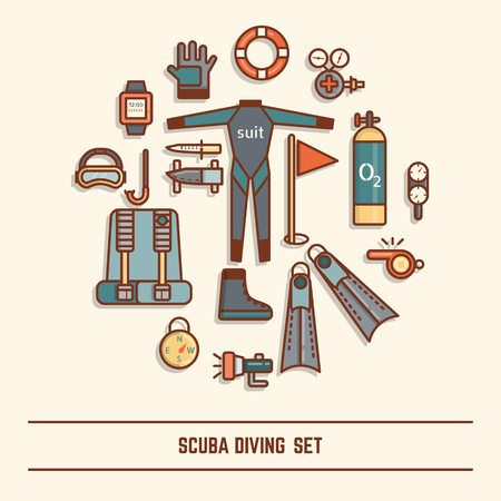 diving: scuba diving icon set
