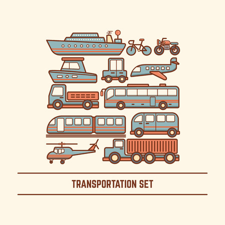boat icon: transportation set various type of vehicle car bus train truck van boat ship helicopter airplane