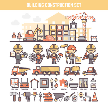 office worker cartoon: building and construction site elements for infographics including character tool and process icons