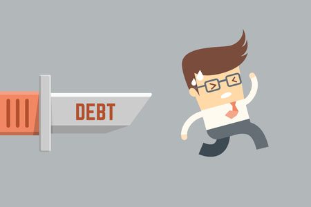 bad economy: business man running from debt, financial problem concept Stock Photo