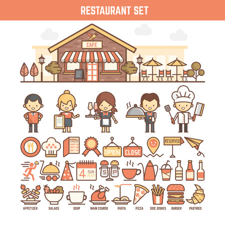kitchen  cooking: food and restaurant elements for infographics including character and icon Stock Photo