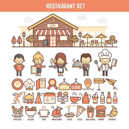 meseros: Los elementos de comida y restaurantes para infograf�as incluyendo car�cter y el icono Foto de archivo