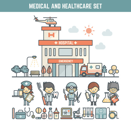 medical emergency service: medical and healthcare elements for infographics including character and icons