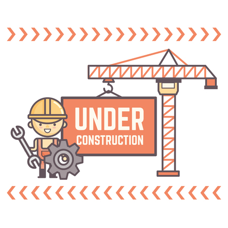 under construction sign with man: worker character display message under construction Illustration