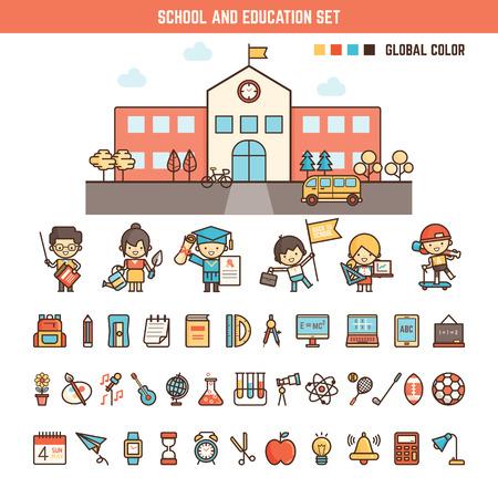educação: elementos da escola e da educação infográficos para o miúdo incluindo personagens, construção e ícones