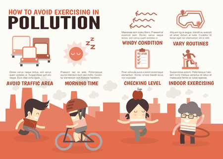 pollution: infographics cartoon characters about how to avoid exercising in pollution
