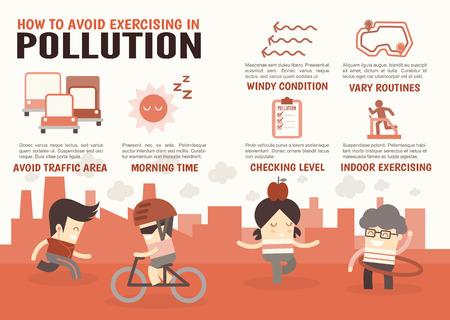 contaminacion del aire: personajes de dibujos animados infograf�a sobre c�mo evitar el ejercicio de la contaminaci�n Vectores