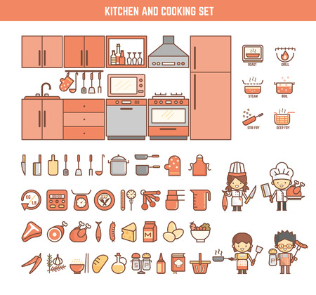 chef kitchen: kitchen and cooking infographic elements for kid including characters and icons