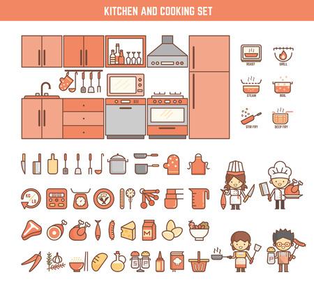 gospodarstwo domowe: kuchni i gotowania infographic elementy dziecko w tym znaki i ikony Ilustracja
