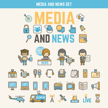 media and news infographic elements for kid including characters and icons