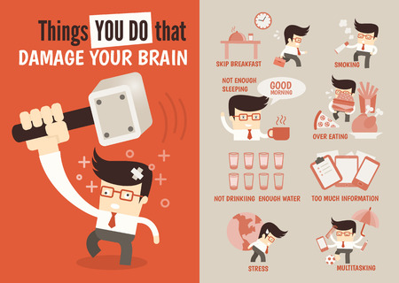 food illustration: infographics cartoon character about  things done that damage brain