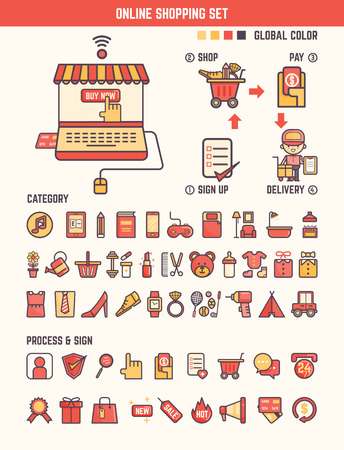 web store: online shopping infographic elements for kid including categories and marketing tools