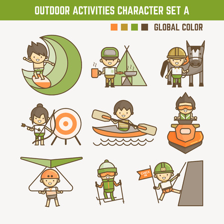 family vacations: outdoor sport character set