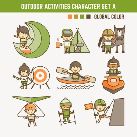 sport de plein air jeu de caractères Illustration