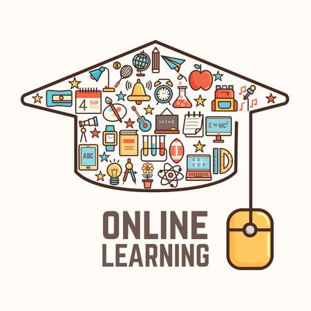 graduacion ni�os: aprendizaje en l�nea conceptual de fondo Foto de archivo