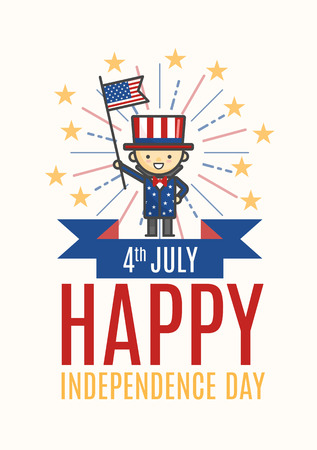 Fourth of July Happy Independence day greeting card, poster or flyer photo