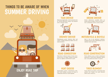 speed car: infographics cartoon character about things to be aware of when summer driving