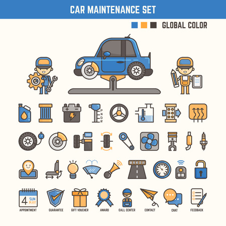 mantenimiento: elementos infográficos de mantenimiento del coche para el cabrito incluyendo personajes e iconos
