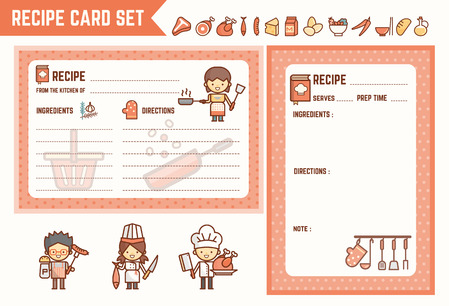 recipe card: cooking and kitchen recipe card set with characters and ingredient icons