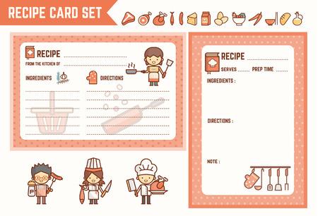 kook- en keuken receptenkaart set met tekens en ingrediëntpictogrammen