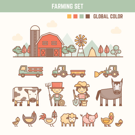 cow cartoon: farming and agriculture infographic elements for kid including characters and objects
