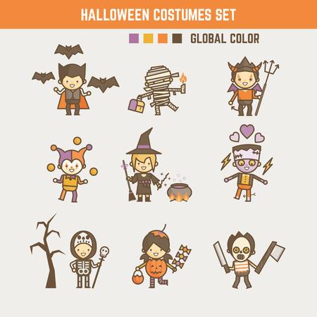 brujas caricatura: Halloween chico juego de caracteres de vestuario Vectores