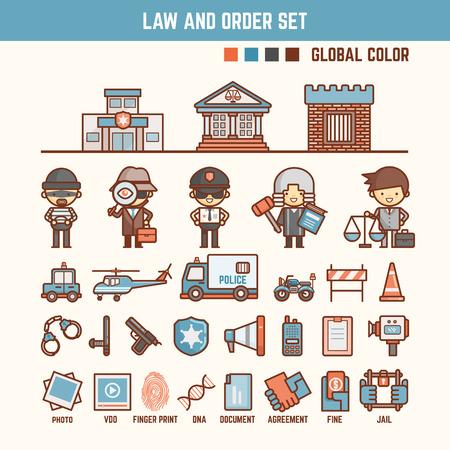 derecho penal: ley y el orden infografía elementos para niño incluyendo personajes e iconos