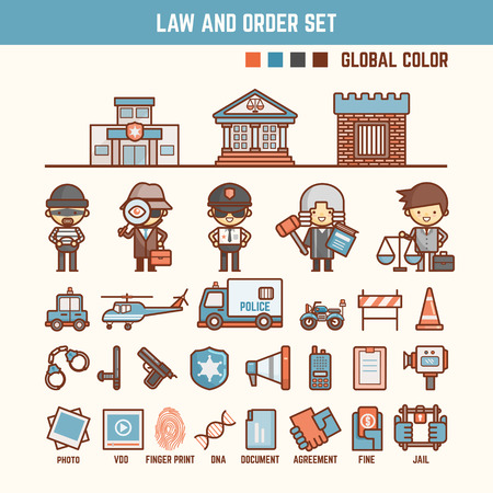 law and order infographic elements for kid including characters and icons Illustration
