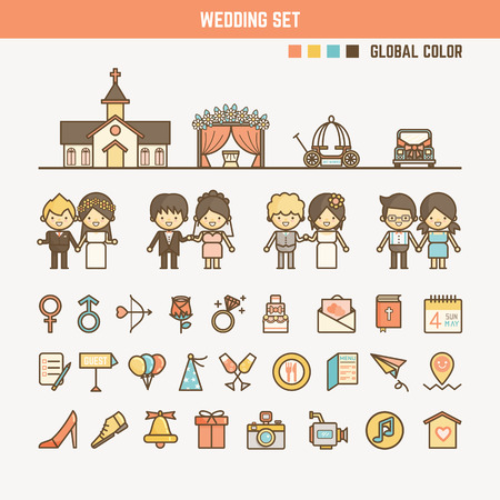 wedding infographic elements for kid including characters objects and icons Reklamní fotografie - 43549273