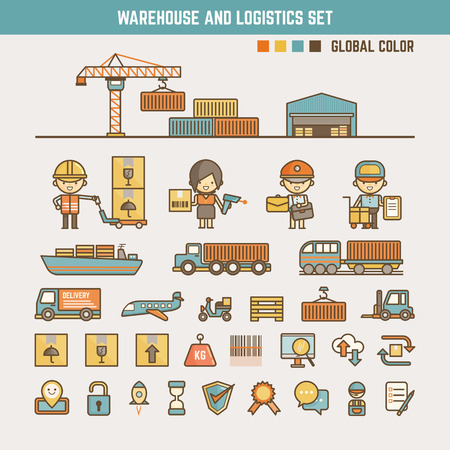 global logistics: warehouse and logistics infographic elements for kid including characters and icons