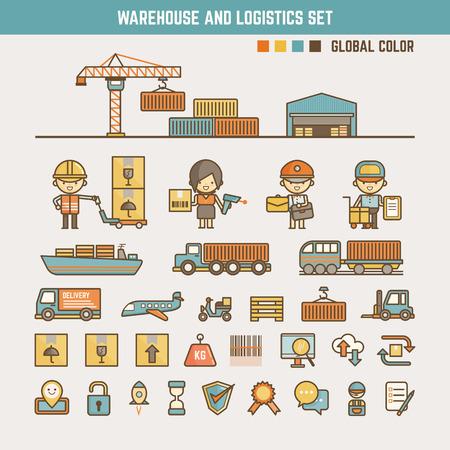 warehouse en logistiek infographic elementen voor het kind met inbegrip van karakters en pictogrammen