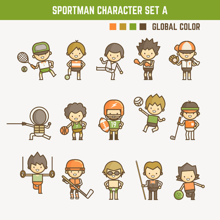 cartoon outline sportman character set 矢量图像
